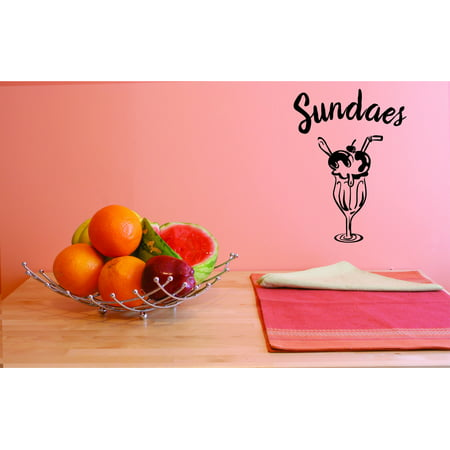 Custom Wall Decal Vinyl Sundaes Home Decor Picture Art 10 X 20 Inches