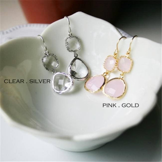 Rebecca GDEGP Gemstone Dangle Earrings - Gold Pink