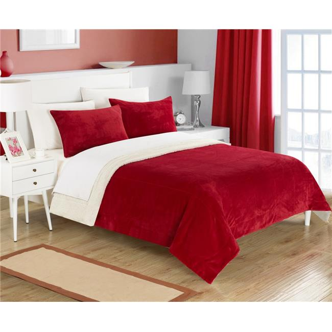 Chic Home SB1567-US 3 Piece Eve Microplush Mink-Like Super Soft Sherpa Lined Queen Comforter Set with Contrast Stitching Detail, Burgundy