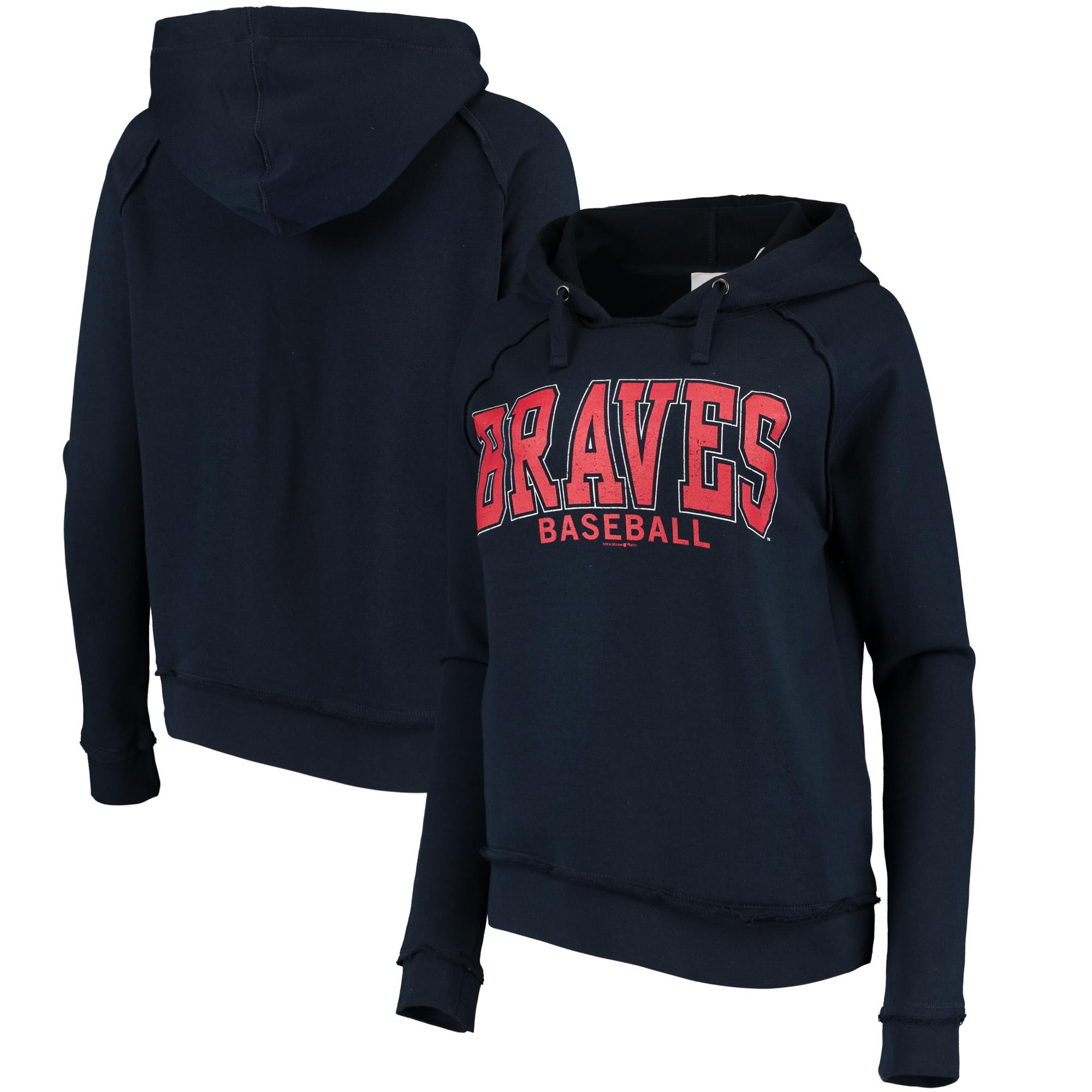 Atlanta Braves 5th & Ocean by New Era Women's Defense Raglan Pullover Hoodie - Navy