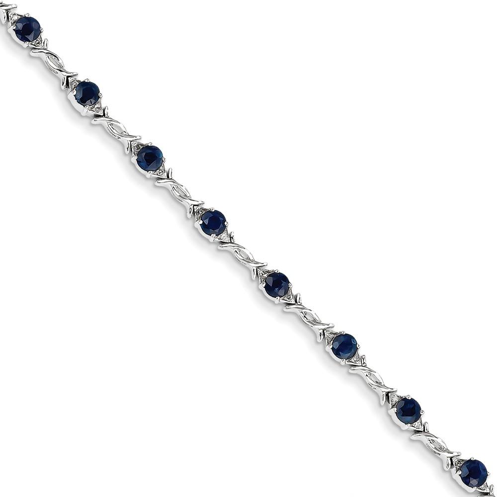 14K White Gold Diamond and Sapphire Bracelet. Carat Wt- 0.1ct. Gem Wt- 3.19ct