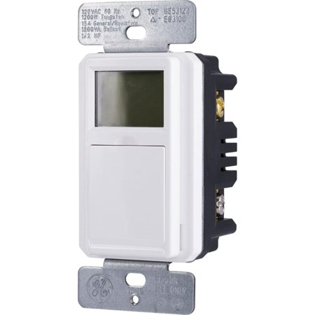 GE SunSmart In-Wall Digital Timer, Daily/Weekly Settings, Backlit LCD, Push Button Door, (Poker Dealer Button Timer)