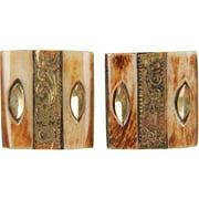 "Handmade Horn Buttons-Squares W/Gold Metal 1-1/2"" 2/Pkg"