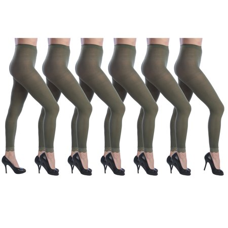 Footless Tight Set (Isadora Women's 6 Pack Footless Tights with Lace Trim Set)