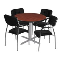 "Via 36"" Round X-Base Table- Cherry/Grey & 4 Uptown Side Chairs- Black"