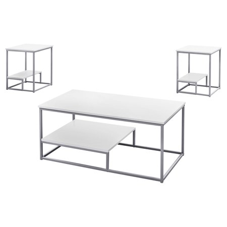 3-Piece White and Silver Contemporary Table Set 42.25""