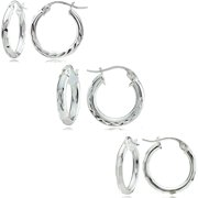 Sterling Silver 15mm Mixed Round Hoop Earring Set