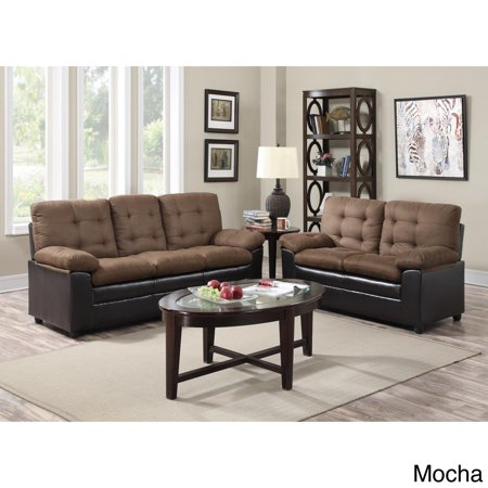 Gtu Furniture Two Tone Microfiber Sofa And Loveseat Set Walmartcom