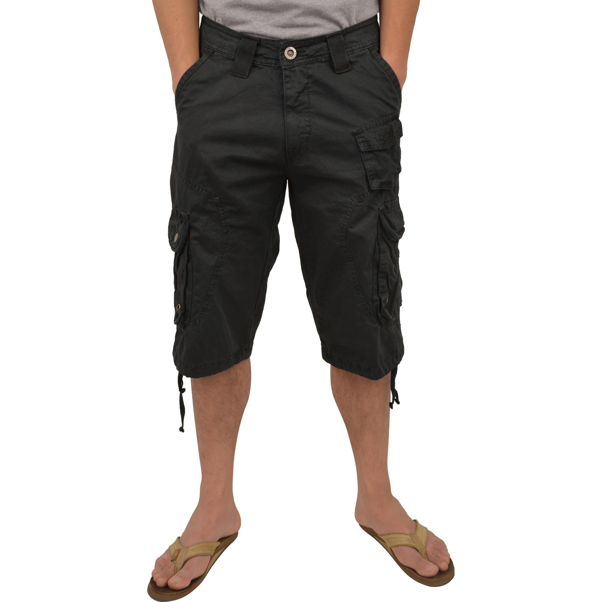 Mens Military Black Cargo Shorts #1048 Size 34