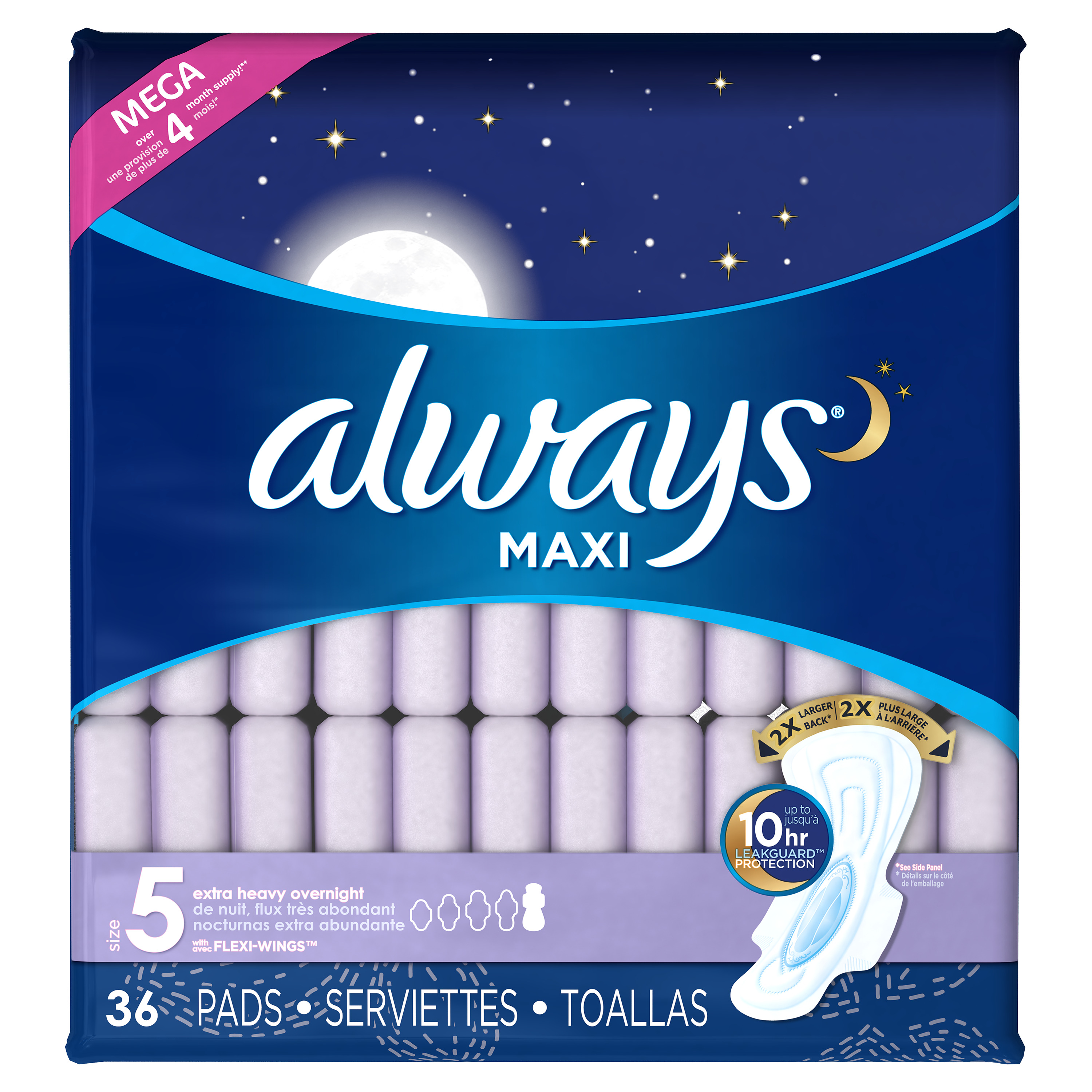 always maxi size 5 heavy overnight pads with wings