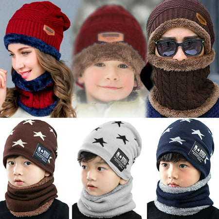 Grey Wool Hat (Kids Knitted Hat-Fitbest Kids Warm Knitted Hat and Circle Scarf with Fleece Lining for Boys and Girls Grey Winter Autumn Warm Hat 2PCs/Set )