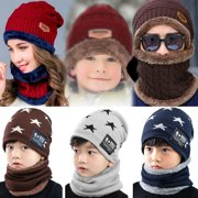Kids Knitted Hat-Fitbest Kids Warm Knitted Hat and Circle Scarf with Fleece Lining for Boys and Girls Grey Winter Autumn Warm Hat 2PCs/Set