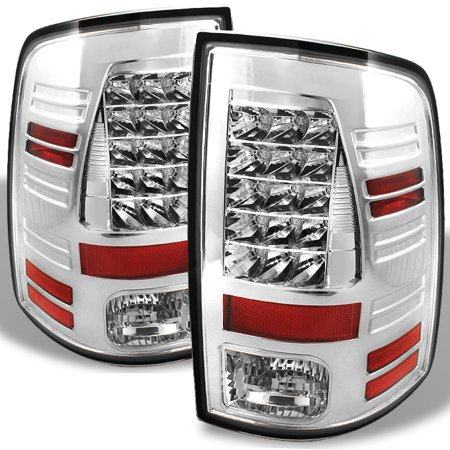 Fits 09-18 Dodge Ram Pickup Truck LED Chrome Tail Lights Lamps Pair Left+Right