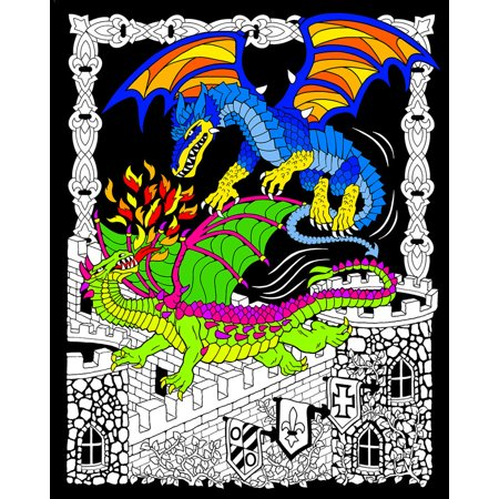 Dueling Dragons - Fuzzy Velvet Coloring Poster 16x20 Inches