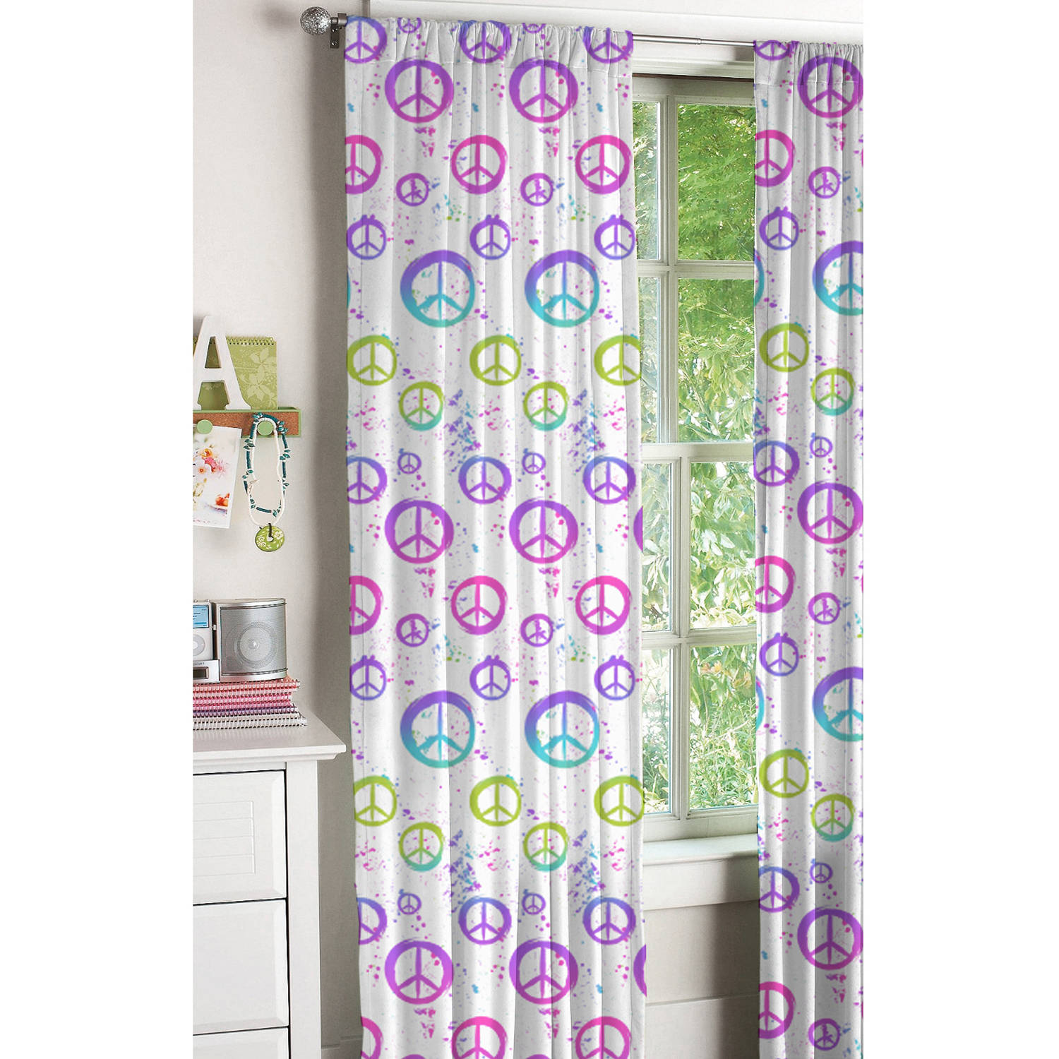 Bathroom Signs Walmart your zone peace sign kids bedroom curtains - walmart
