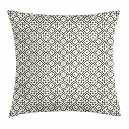 Quatrefoil Throw Pillow Cushion Cover, Edwardian Style Vintage Tessellation Pattern in Plain Colors Rich Floral Motifs, Decorative Square Accent Pillow Case, 16 X 16 Inches, Taupe Beige, by Ambesonne (Plain Decorative Pillow Cases)