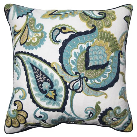 Better Homes and Gardens Paisley Floral Accent Pillow, Green, 18