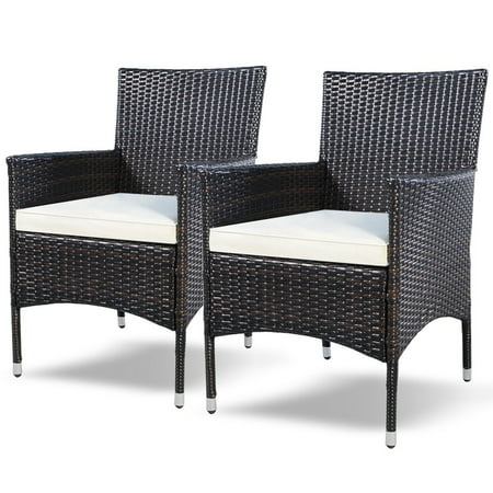 2PC Chairs Outdoor Patio Rattan Wicker Dining Arm Seat w/ Cushions - image 9 of 10
