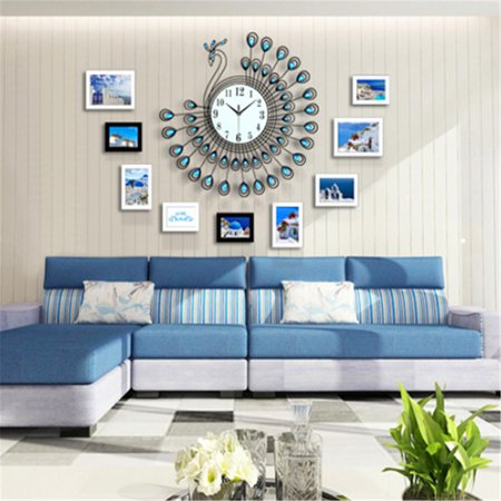 21inch Glow in Dark Non Ticking Creative Decorative Luxury Silent 3D Large Diamonds Gold Peacock Wall Clock Metal Gift for Office/Kitchen/Bedroom/Living Room Decoration