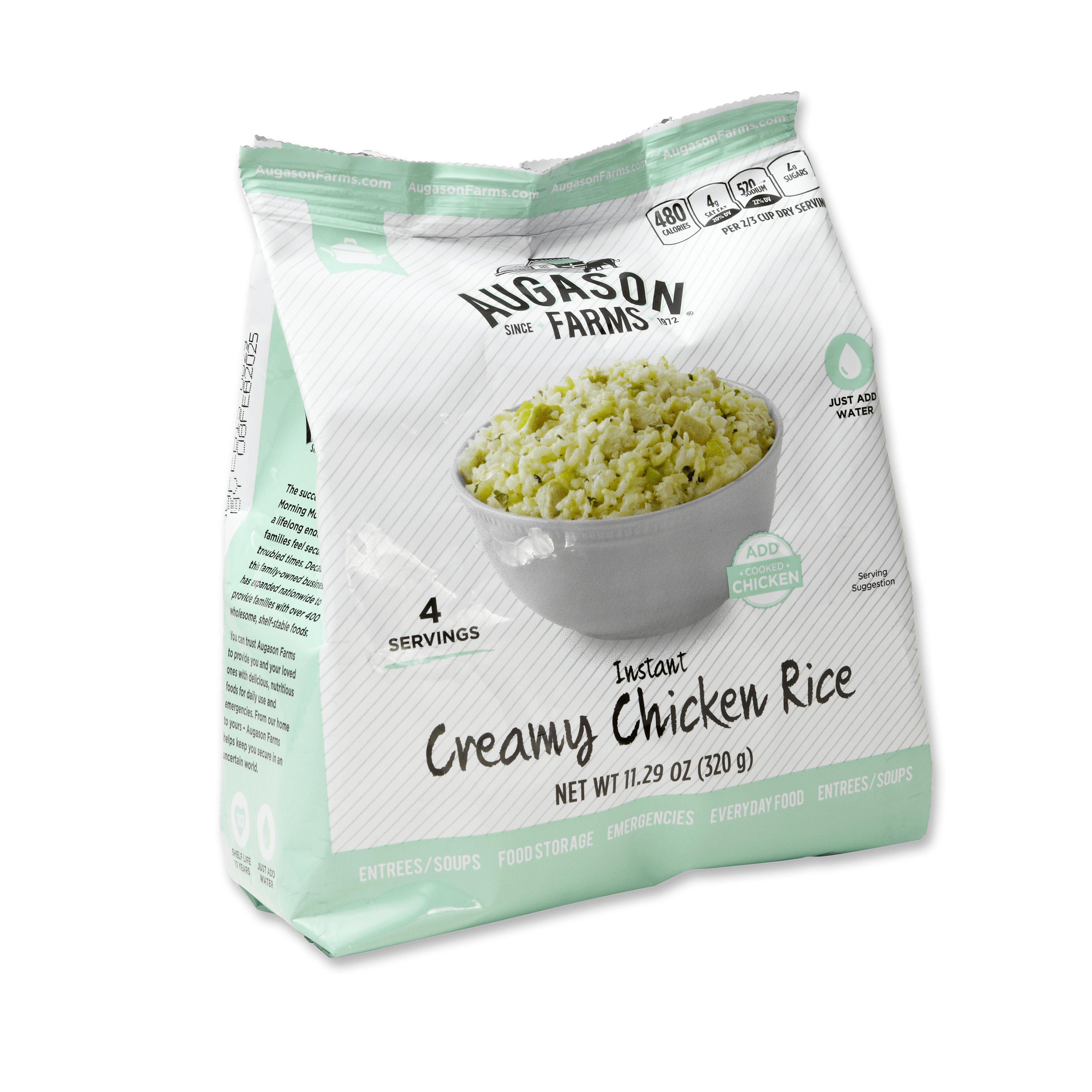 Augason Farms Instant Creamy Chicken Rice 11.3 oz Pantry Pouch