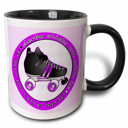 - 3dRose Derby Chicks Roll With It Purple with Black Roller Skate, Two Tone Black Mug, 11oz
