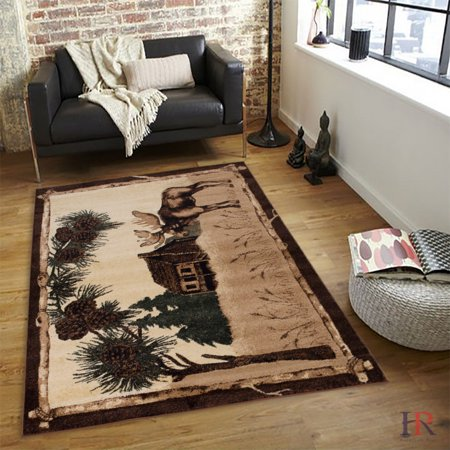 HR MOOSE,LODGE AND NATURE, RUSTIC CABIN AREA RUG CARPET.(BEIGE AND MULTI COLOR)](Moose Rug)