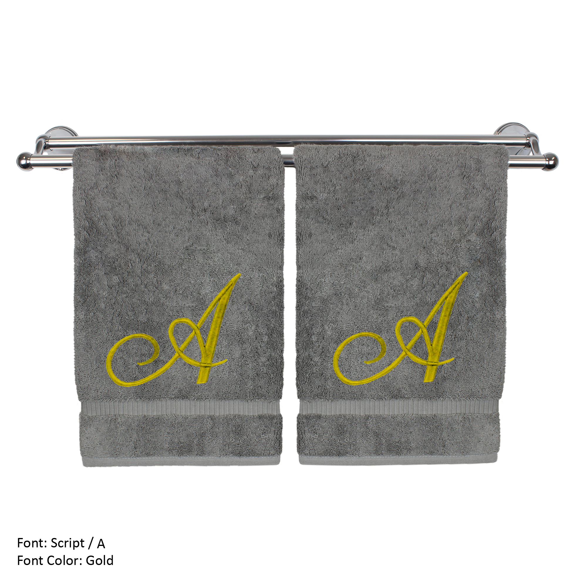 Monogrammed Hand Towel, Personalized Gift, 16 x 30 Inches - Set of 2 - Gold Embroidered Towel - Extra Absorbent 100% Turkish Cotton - Soft Terry Finish - For Bathroom, Kitchen and Spa - Script A Gray