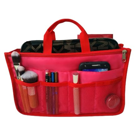 Handbag Liner - RW Collections Handbag Organizer, Liner, Sturdy Nylon Purse Insert 13 Pockets (XL Red)