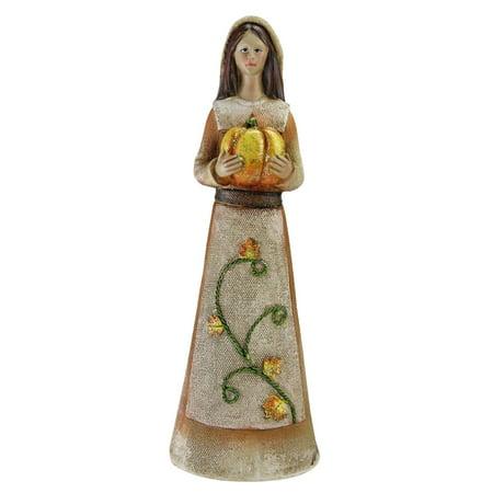 "Marigold Orange, Tan and Brown Decorative Girl Pilgrim Figurine 11.75"" (Pilgrim Figurines)"