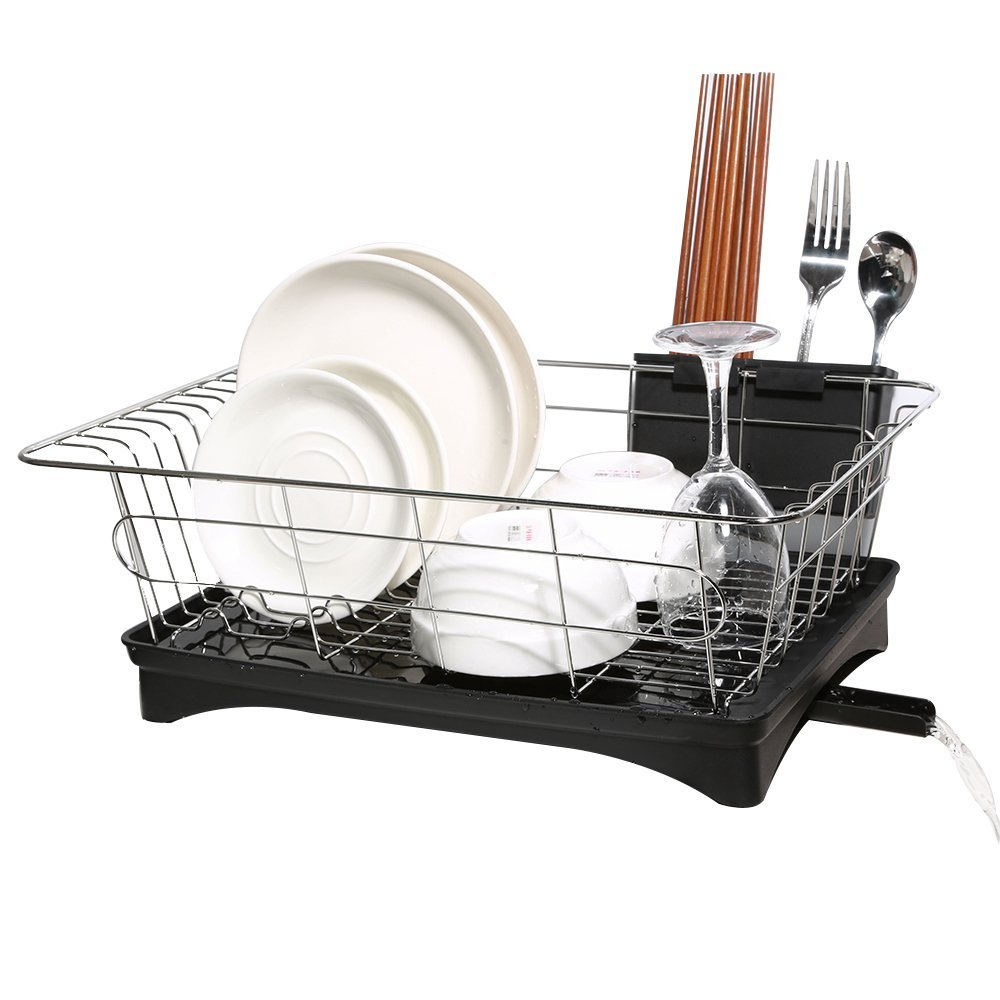 HK Antimicrobial Sink Dish Rack Dish Drainer Multi-Function Sturdy Stainless-Steel Dish Drying Rack w/ Black Drainboard