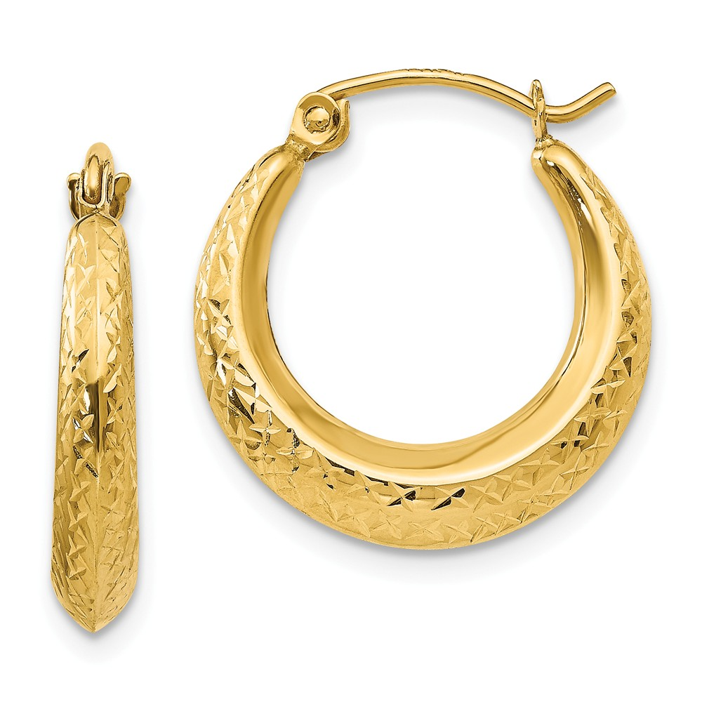 14k Yellow Gold Childs Textured Hollow 0.4IN Hoop Earrings w/ Gift Box (0.7IN x 0.7IN )