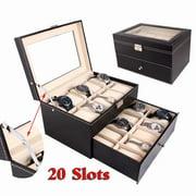 Akoyovwerve Dual Layers Wooden Watch Display Case Organizer Box Xmas Holiday Men/Women Gift 20 Slots Black