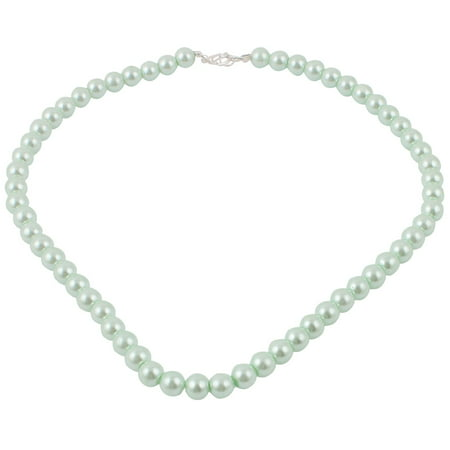 - Women Single Strand Round Clasp Faux Pearl Necklace Chain Jade Color