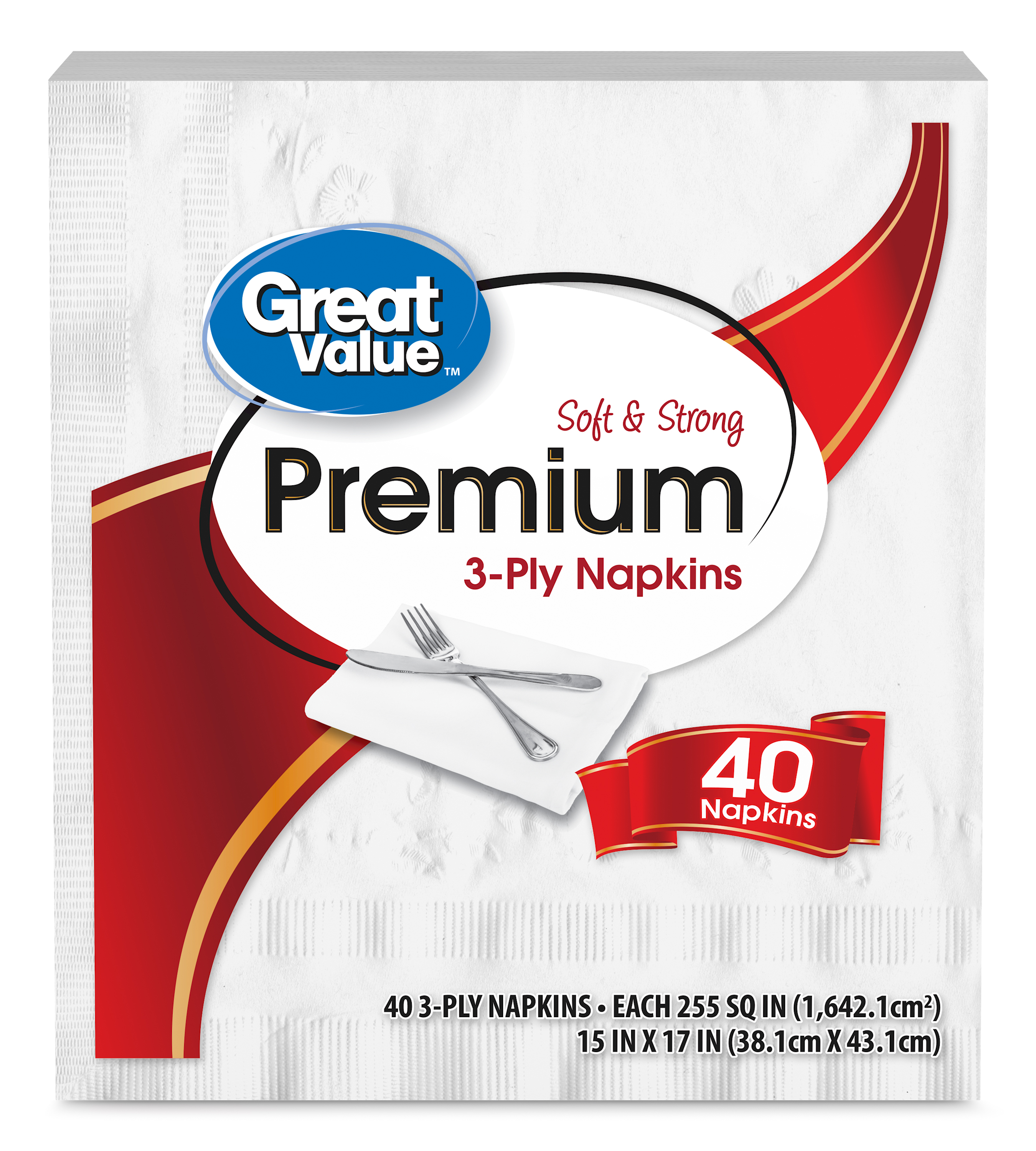 Great Value Premium Napkins, Soft & Strong, 40 Count