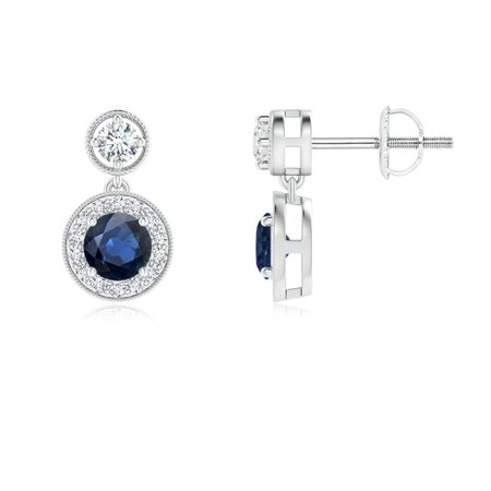 September Birthstone Earrings - Dangling Sapphire and Diamond Halo Earrings with Milgrain in 14K White Gold (4mm Blue Sapphire) - SE1066SD-WG-AA-4 Ocz Platinum 1066