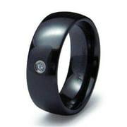 EWC R40035-100 Classical Dome Ceramic CZ Ring - Size 10