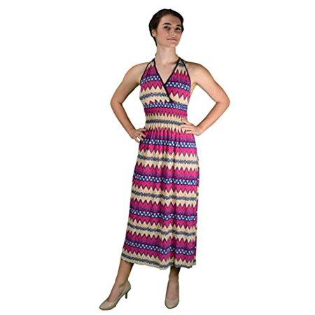 Peach Couture Bohemian Sleevless V Neck Halter Dress Smocked Waist Chevron Dress Maxi Dress Long Dress Empire Waist Smocked V-neck Dress