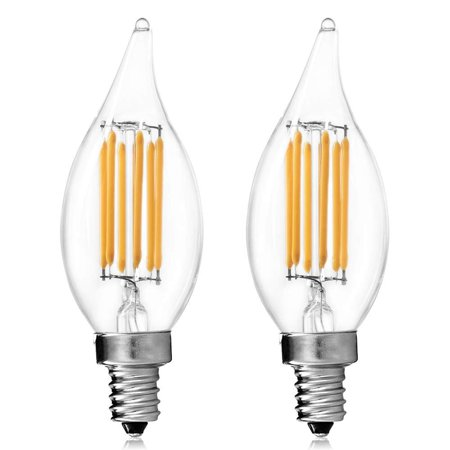 Luxrite Filament LED Candle Bulb, 6W (60W Equivalent), 2700K Warm White, 650 Lumens, LED Edison Chandelier Bulb, UL Listed, Flame Tip, LED E12 Base, Pack of 2