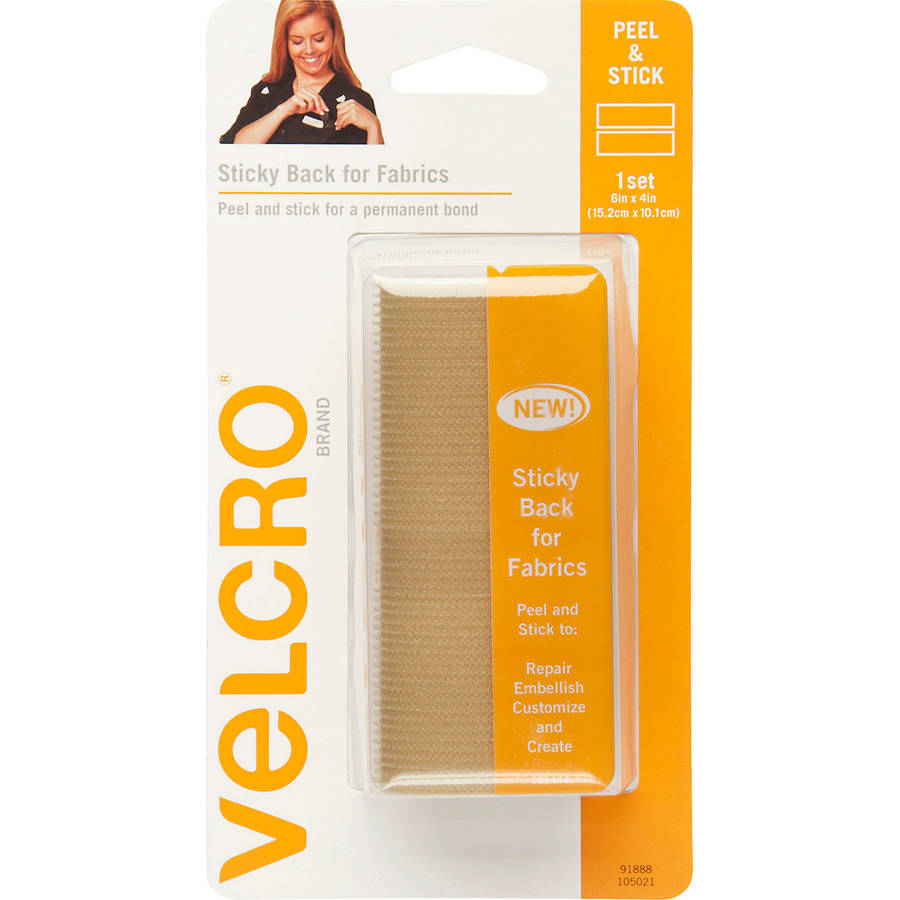 """VELCRO Brand STICKY BACK For Fabric Tape, 4"""" x 6"""", Beige"""