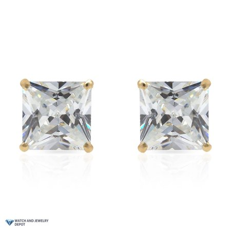 14K Yellow Gold 2Ct Princess Square Created Diamond Stud Earrings 6mm