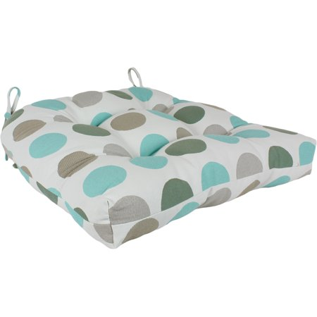 Lakeside Teal and Gray Big Dots Indoor / Outdoor Seat Cushion Patio D Cushion ()