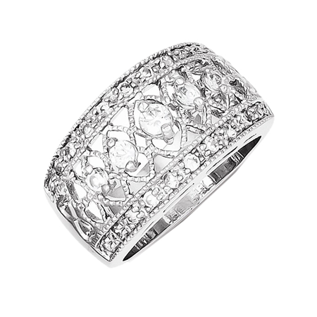 Avon Sterling Silver Vintage Ring (925 Sterling Silver White Synthetic Cubic Zirconia Vintage Design)