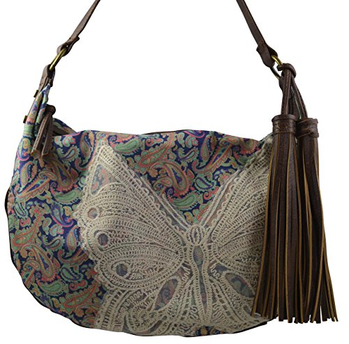 Women's / Girls Hippy Hobo Tote Lace Floral Multicolor Design on Canvas Material Handbag (Butterfly)