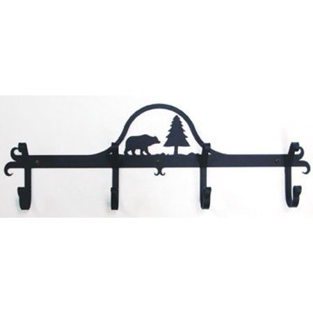 Village Wrought Iron CB-83 Wall Mounted Wrought Iron Coat Rack-Hooks - Bear and Pine Tree