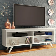 Madesa Modern Entertainment Center, Console Table, TV Stand for TVs up to 65'', Wire Management and Storage Shelves, White