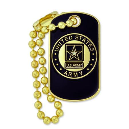 Military U.S. Army Dog Tag Key Chain Enamel lapel Pin