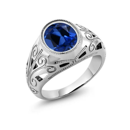 6.13 Ct Oval Blue Simulated Sapphire 925 Sterling Silver Men's Ring