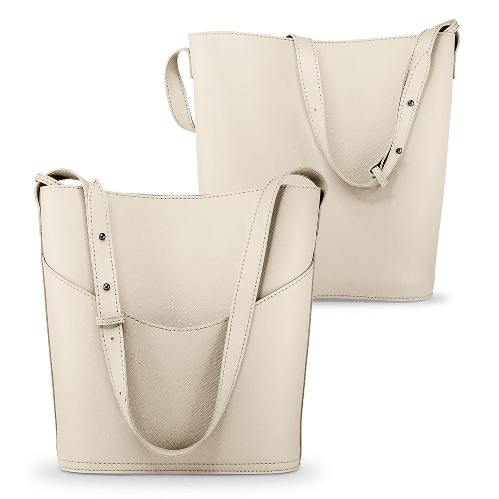 Women PU Leather Bucket Tote Shoulder Bag Handbag Purse with Small Bag