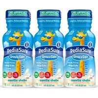 PediaSure Grow & Gain Kids Nutritional Shake, with Protein, DHA, and Vitamins & Minerals, Vanilla, 8 fl oz (Choose Pack)