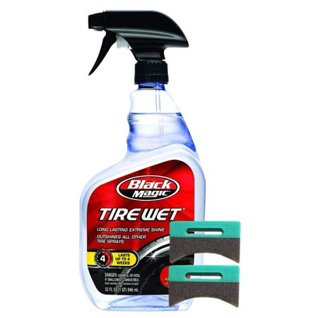 Spray Applicator (Black Magic Tire Wet Spray (32 oz.) Bundle With 2 Applicator Pads (3)